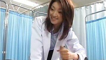 Curvy Japanese cum loving nurse ends up tasting big hard jock