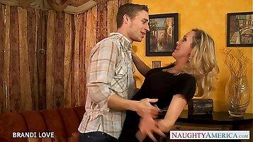 Blondie Brandi Love takes one huge shaft in her holes