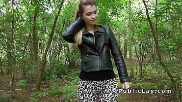 Beautiful blonde slut facialized outdoors