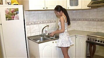 Ho plays with teenie in thong