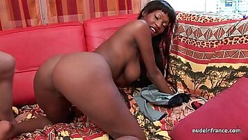 Busty French hottie fucks with black guy on casting