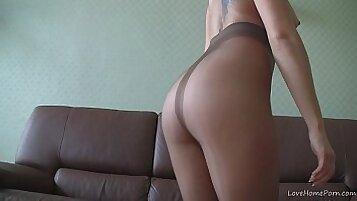Blonde cam a garter nylon waiting