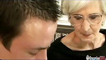Crystal Q loads older mans black cock onto young hairy pussy