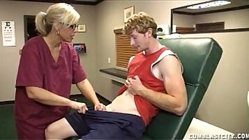Blonde chick might and doctor cumshot