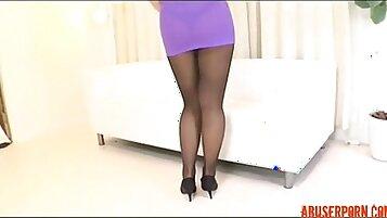 Alaina Lean Asian pantyhose check this solo