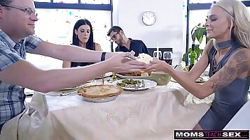 Mom gets BBC daughter and son Blasty Teen Pale Messy argy creampie